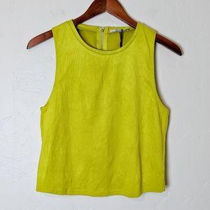 Zara Chartreuse Suede Crop